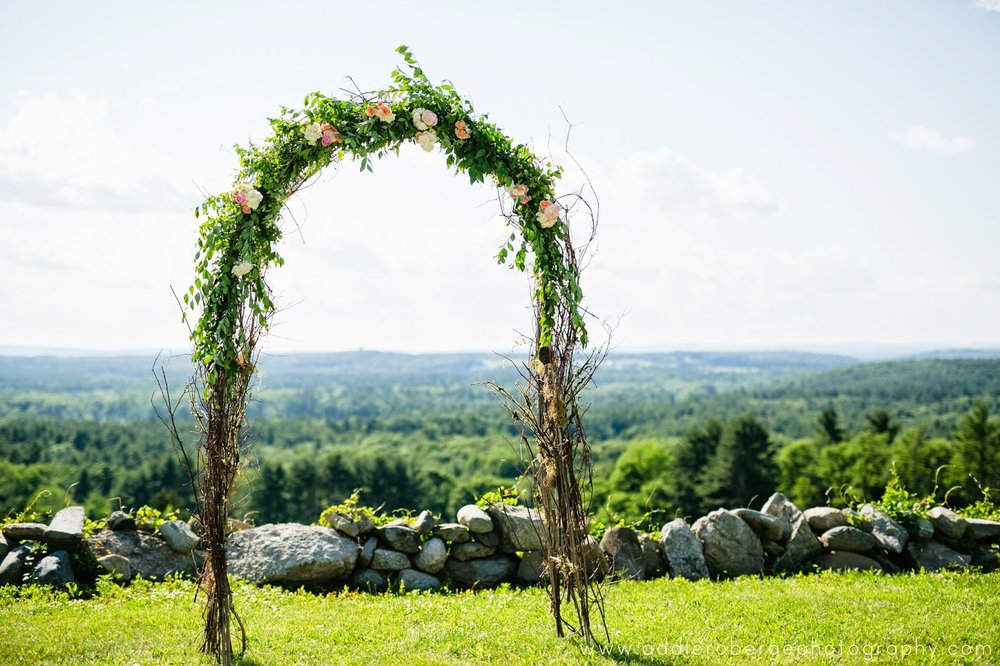 les fleurs : fruitlands museum : summer wedding : birch archway : greenery