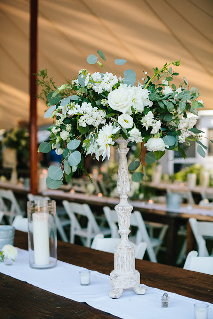 les fleurs : white organic bouquet : long ribbon tails : dahlias : seaside maine wedding : tall centerpieces