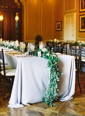 les fleurs : crane estate : summer wedding : estate wedding : dogwood, garden roses, peony : blush, peach, ivory & slate blue : garland table runners