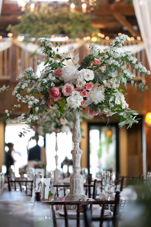 gibbet hill barn wedding centerpiece les fleurs andover