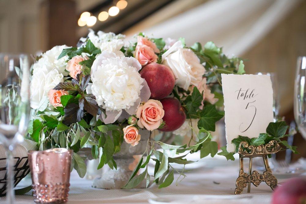 gibbet hill barn wedding peach centerpiece les fleurs andover