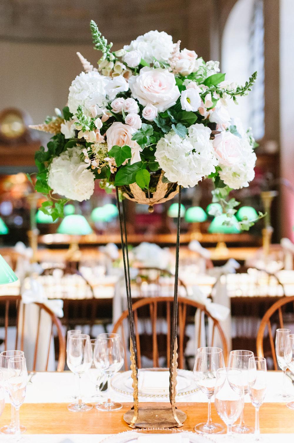 boston public library wedding tall centerpiece les fleurs andover