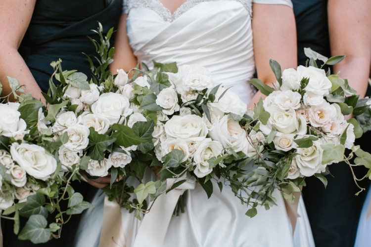 bridesmaids, white roses, winter wedding