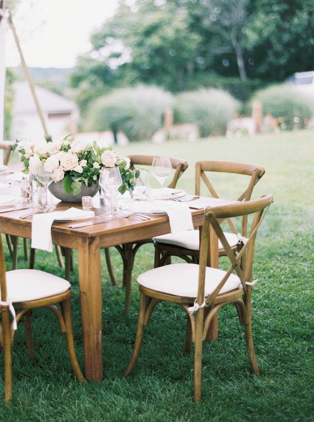 Les Fleurs Andover garden wedding farm table centerpiece cream roses