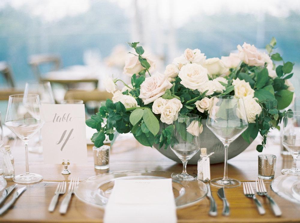 Les Fleurs Andover wedding floral centerpiece creme roses