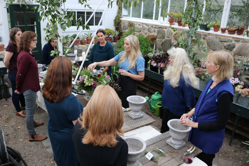 Sandra Sigman teaches floral design workshop in estate greenhouse