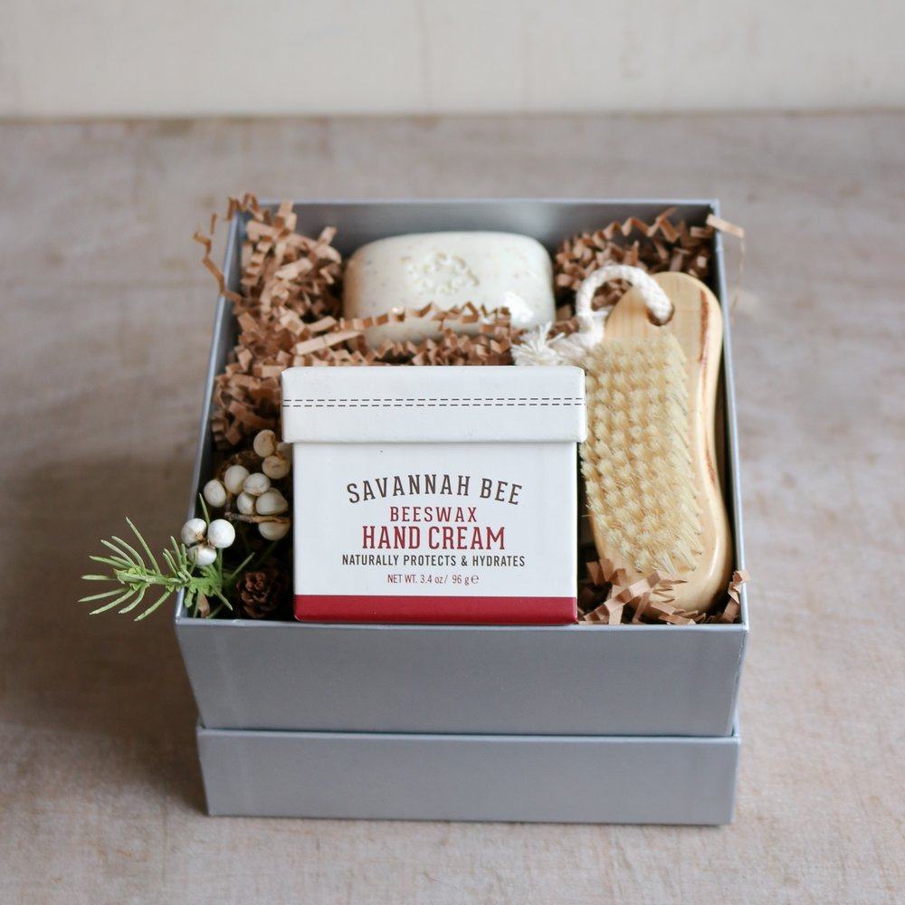 Beeswax hand creme, French milled soap & boar bristle nail brush