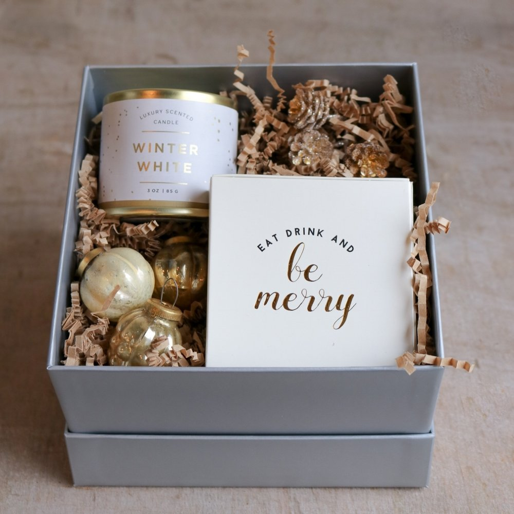 gilded winter holiday candle gift box