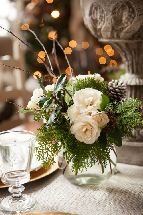 holiday flowers white amaryllis roses arbor vitae lesfleurs Andover Emily O'Brien