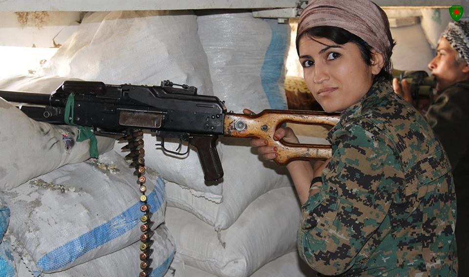 YPJ fighters in Afrin, currently under occupation by the Turkish Army and allied jihadi groups, August 2018. Photograph:    Kurdish Female Fighters