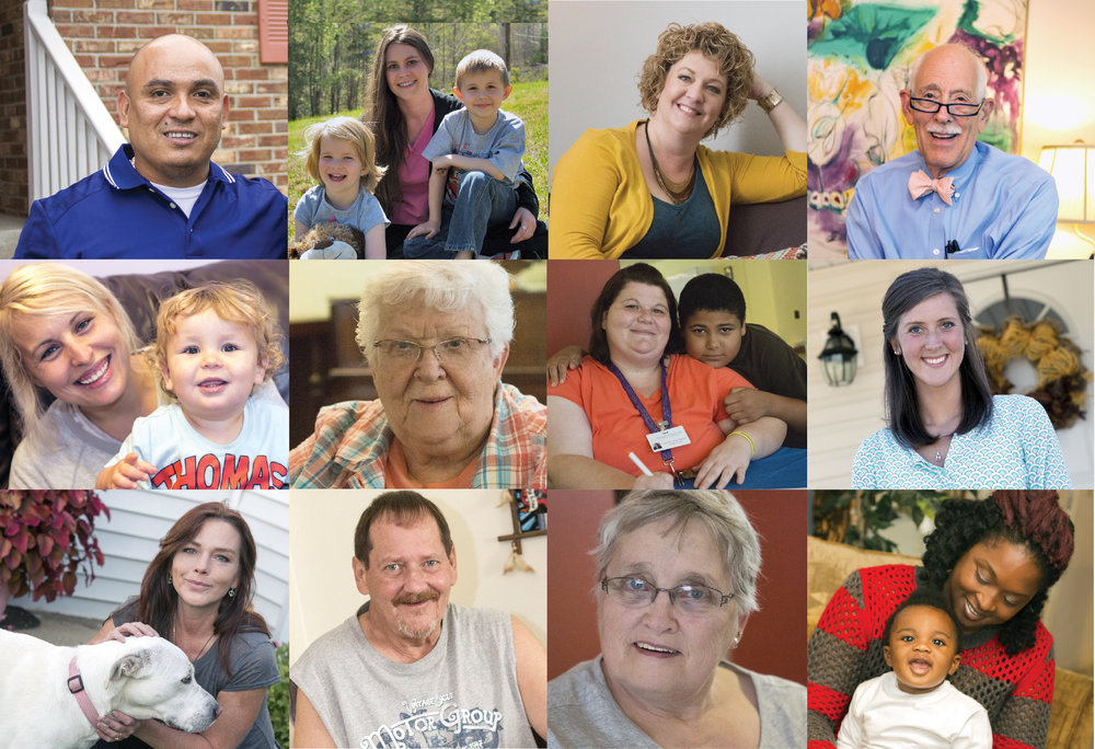 Collage of KHC's program participants; photos are part of the Simply Home series of success stories.
