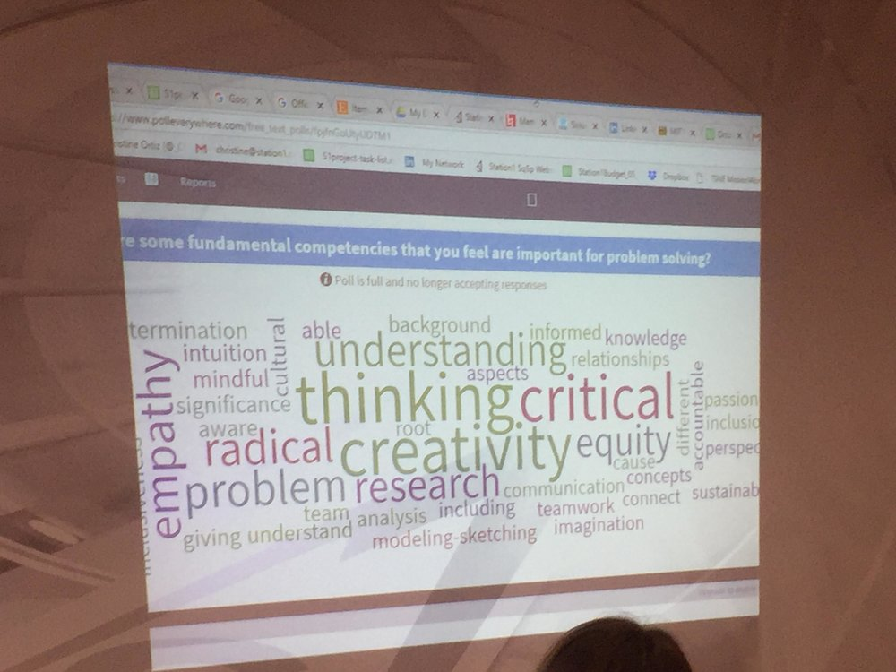 The results from a student poll (an active learning tool) carried out during the shared curriculum in summer 2018 on the most important intellectual, personal, and professional abilities for scientific and technical careers and research represented as a word cloud, where the larger the font size the greater the number of responses.