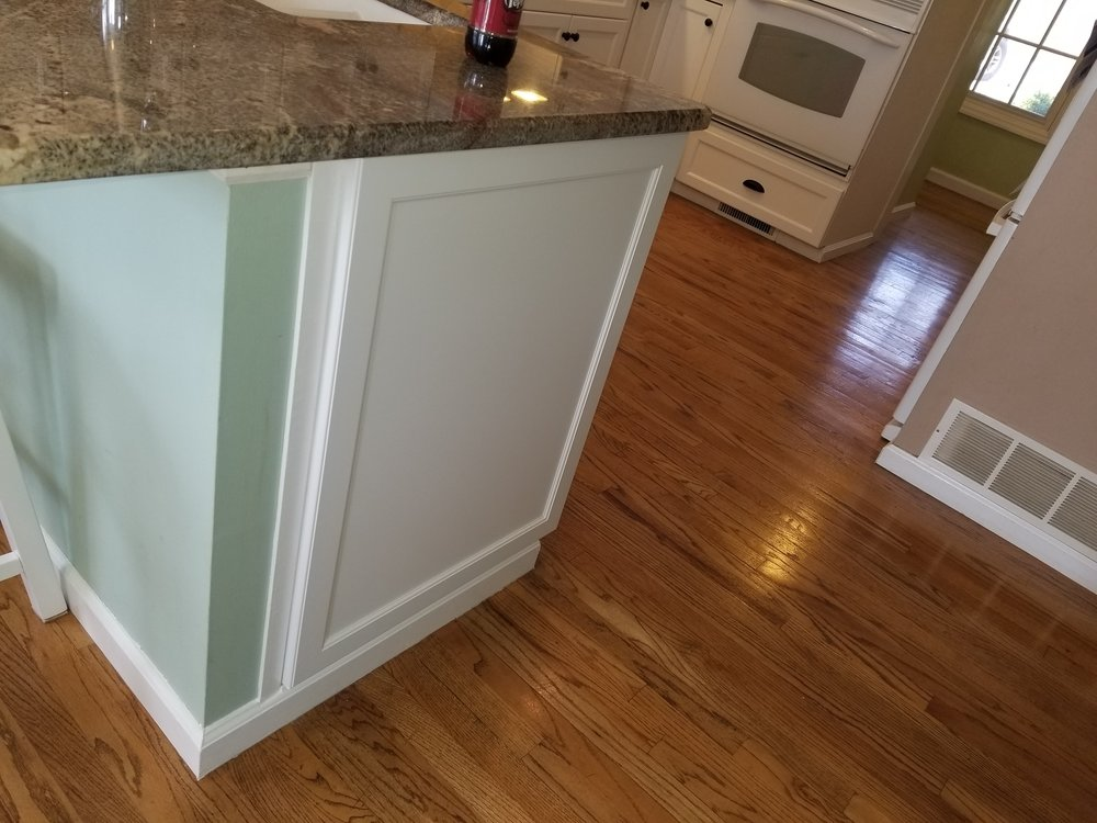 Matching door panels added to cabinet ends for a finished look and to cover any differences in cabinet color.