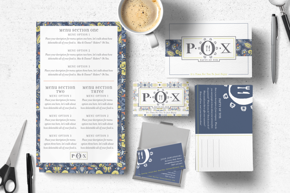 Branding created for the boutique catering company, P.O.X. (Party of Ten).  This design incorporates a hand-drawn logo, as well as a custom painted watercolor pattern used throughout.  Pictured are the menu templates, business cards and post cards.