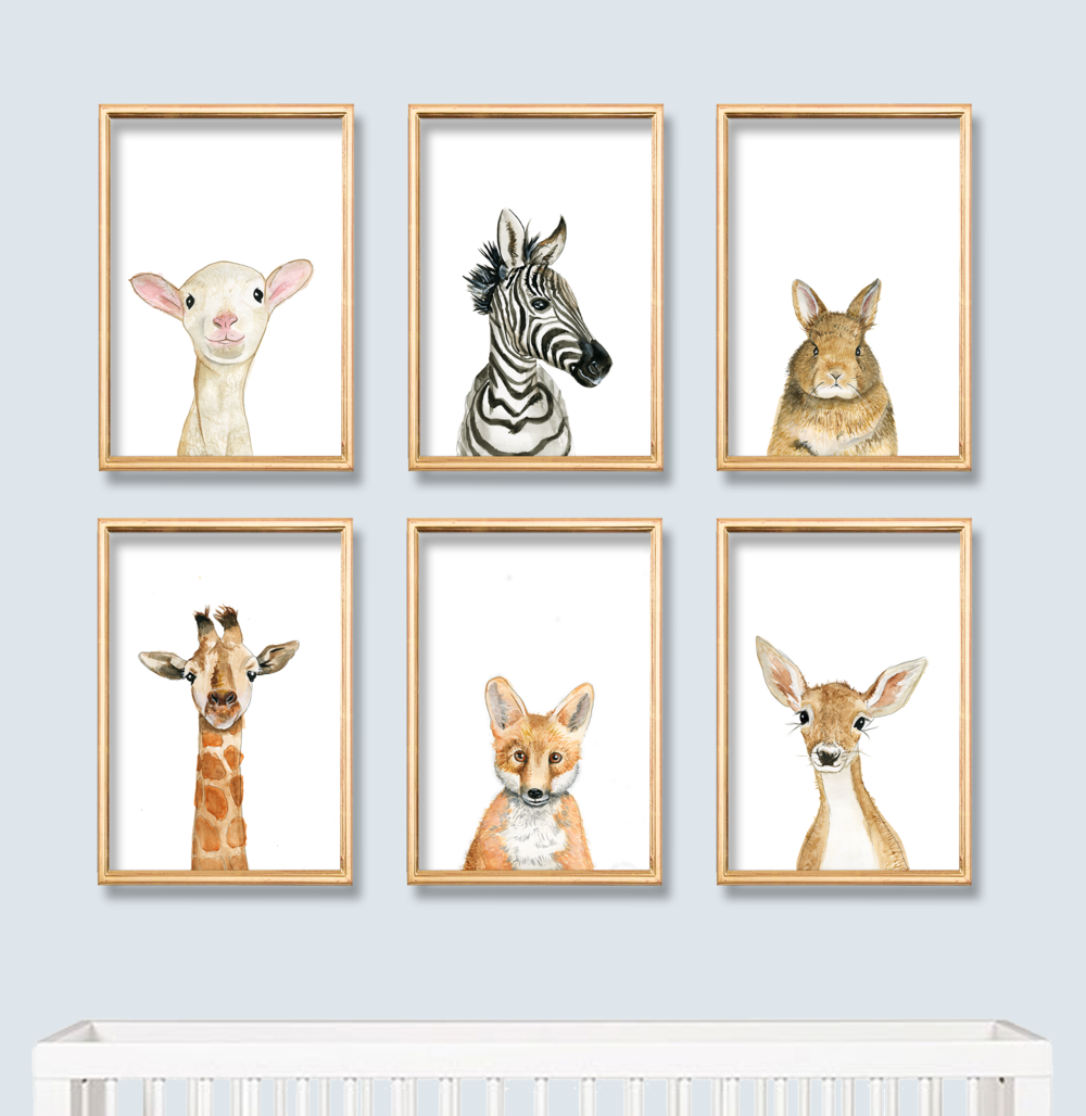 Baby animal portraits created for a nursery.