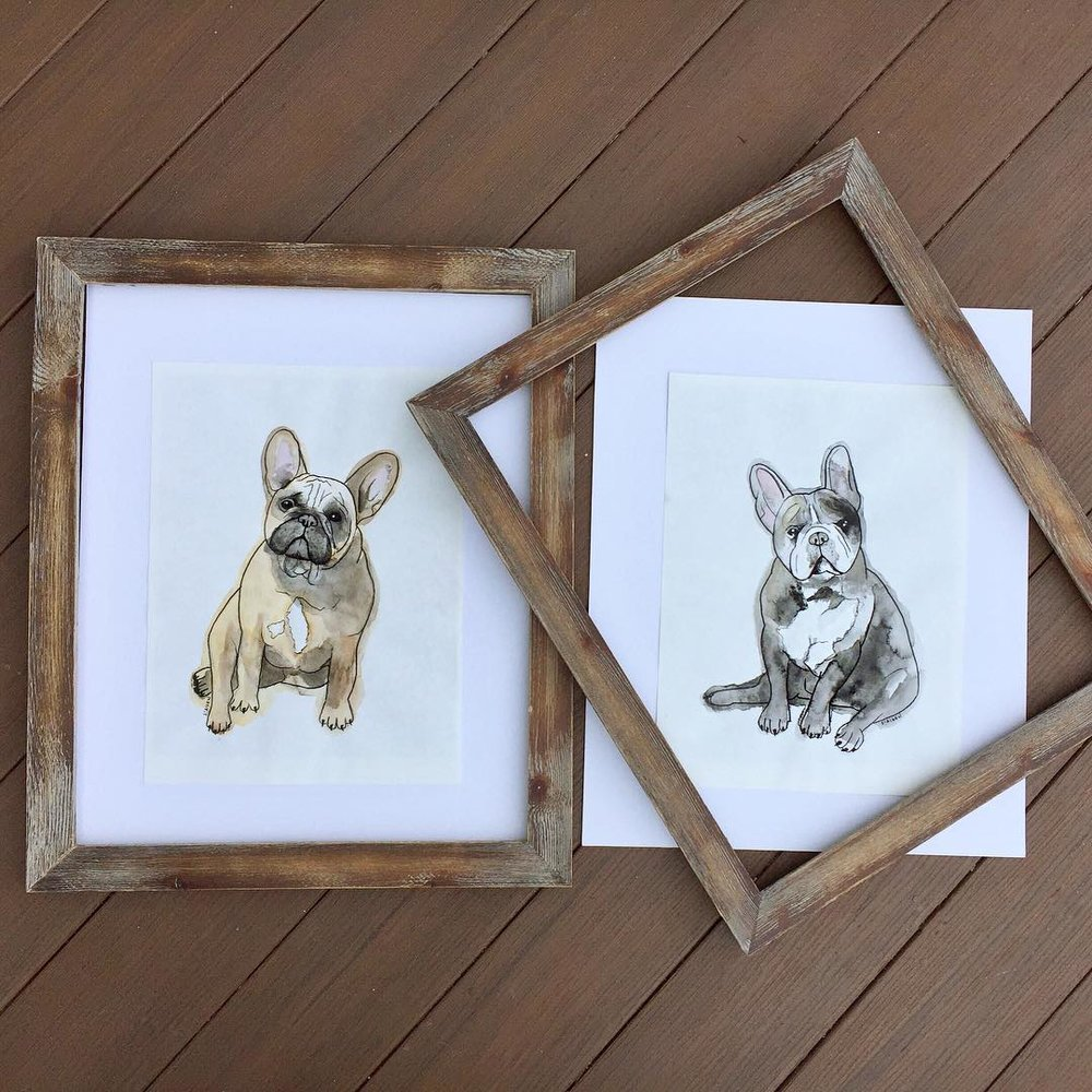 Watercolor portraits of two very special family members.