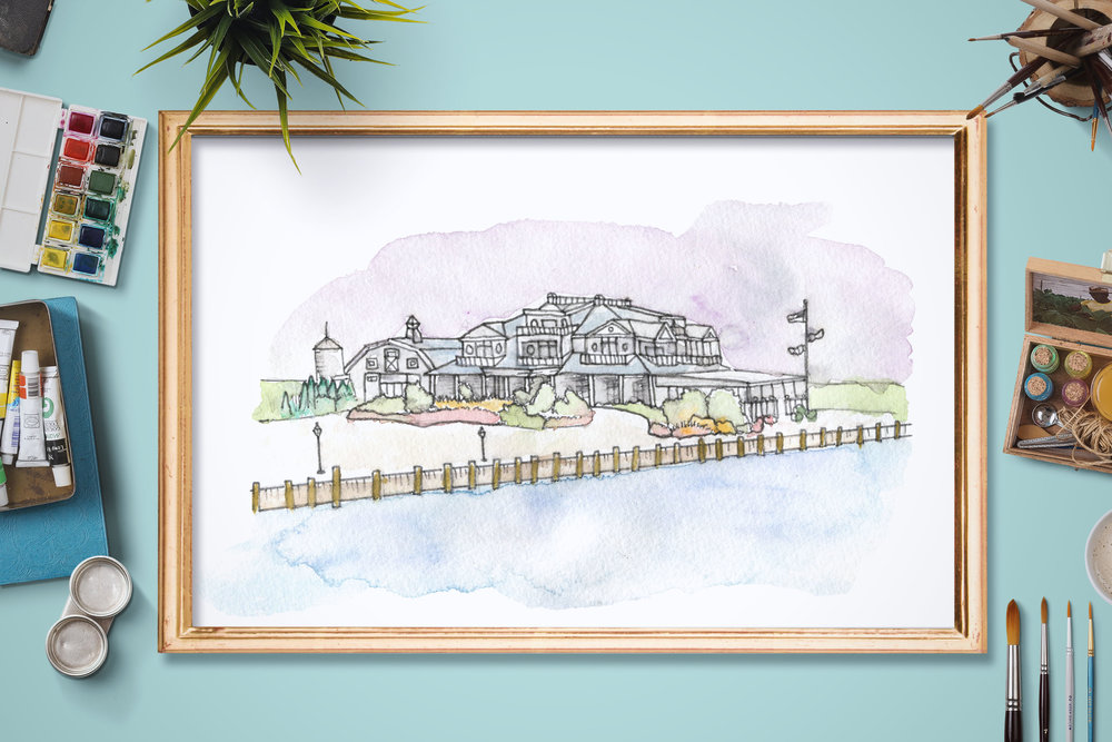 Custom whimsical artwork of a couples' wedding venue.