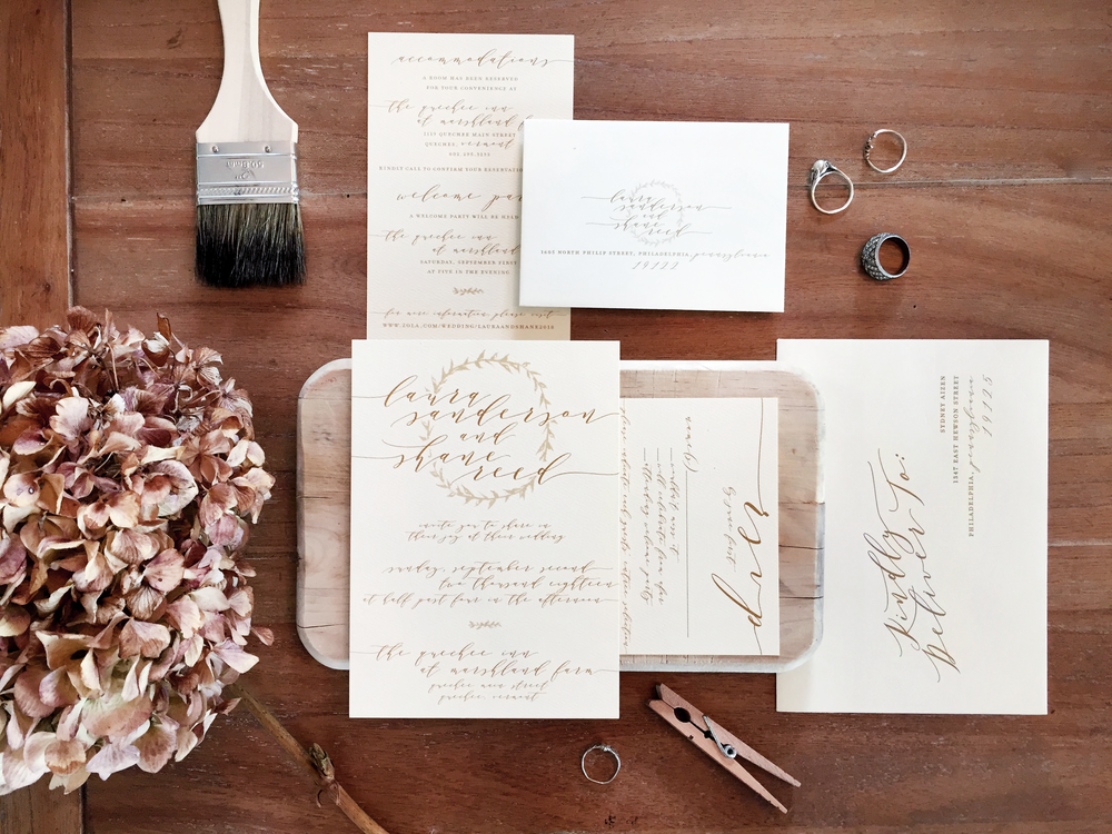 Vintage-inspired suite design featuring muted watercolor wreaths and hand-written script.