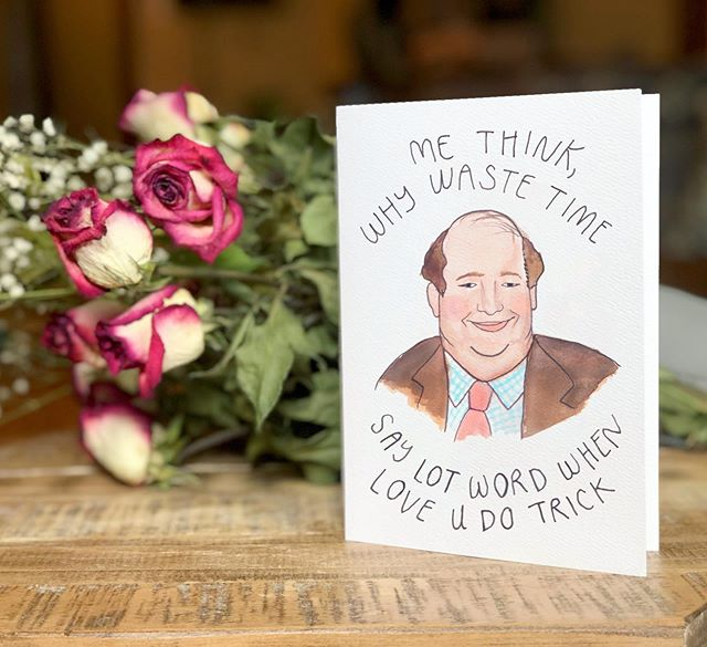 And the valentines card theme for the year is....🥁🥁🥁 Kevin from @theofficeus! Do I know the language of love, or what? . Truthfully, I made this card yesterday in the 30 minutes I had between when Kenneth and I got home from work. 🤷🏻‍♀️ it was still drying when I gave it to him. #girlfriendoftheyear . Thanks for everyone's LOVE on this card from my stories!!! Selling them in packs of 10 because I love you all so much. DM me if you'd like some!