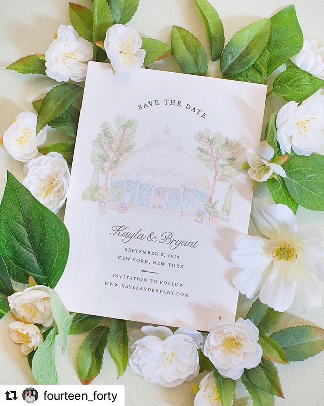 These NY botanical garden save the dates for @fourteen_forty came out sooooo cute!  It's so satisfying seeing hand-painted artwork printed. 🤤 . . . #Repost @fourteen_forty with @make_repost ・・・ We've been drawing a lot of beautiful venues lately - New York Botanical Garden will always be a favorite!! #fourteenfortyny #nycwedding #nybg #nybgwedding #wedding #savethedate #watercolor #watercolorinvitation
