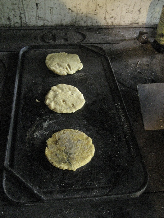 Tortillas on the wood stove griddle