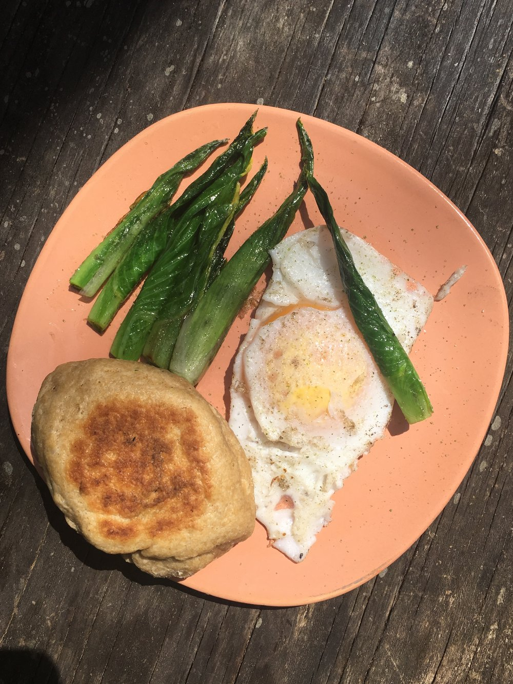 Hosta shoots, duck egg, and homemade biscuit, with ramp salt.