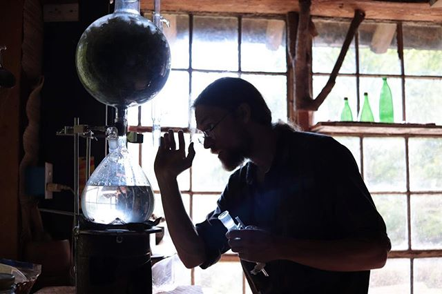 Geoff setting up the essential oil still for tomorrow's Herbal Preparations workshop