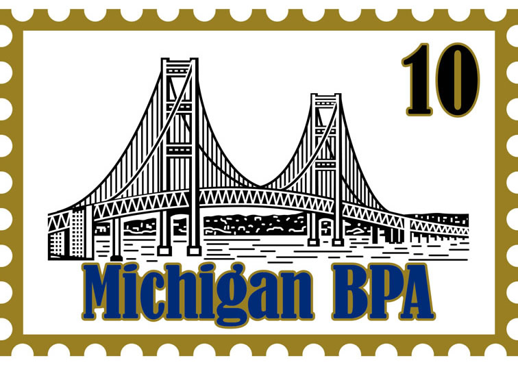 2010 NLC Pin Mackinac Bridge Postage Stamp
