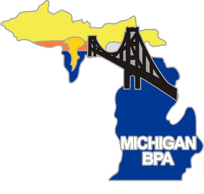 2016 NLC Pin Michigan shape with Mackinac Bridge