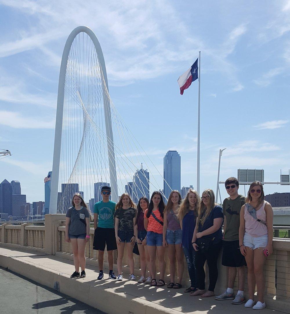 Westwood High School - 2018 NLC - Enjoying the sights of Dallas from Continental Bridge Gateway Plaza West