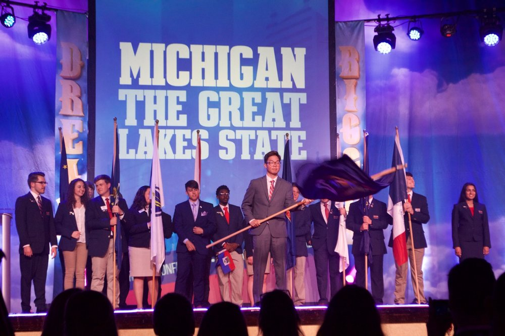 State President Nathan Lee - 2018 NLC - Opening Session (courtesy of Ann Arbor Huron High School)