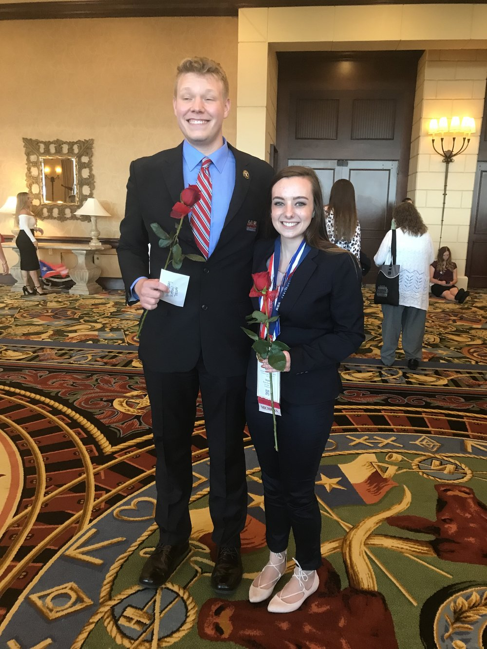 2018-2019 National Postsecondary President Skylar McArthur (right) - 2018 NLC - with fellow national officer