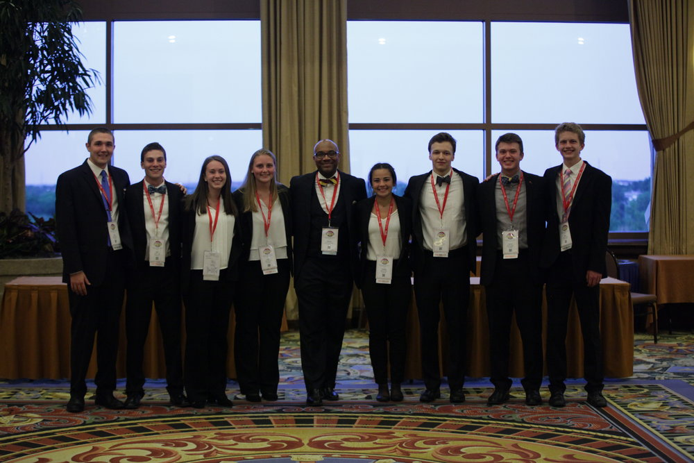 Midland HS - 2018 NLC - Parliamentary Procedure Team with State Director M. Henderson
