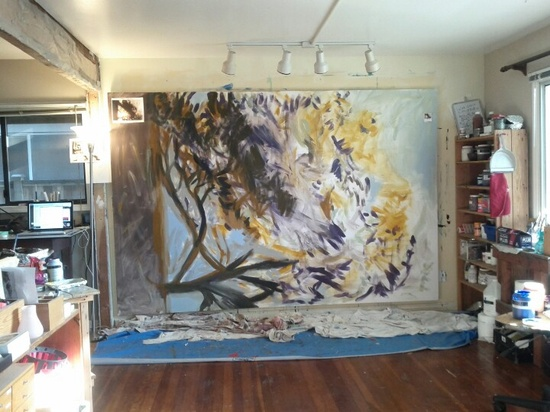 Work in progress in artist studio