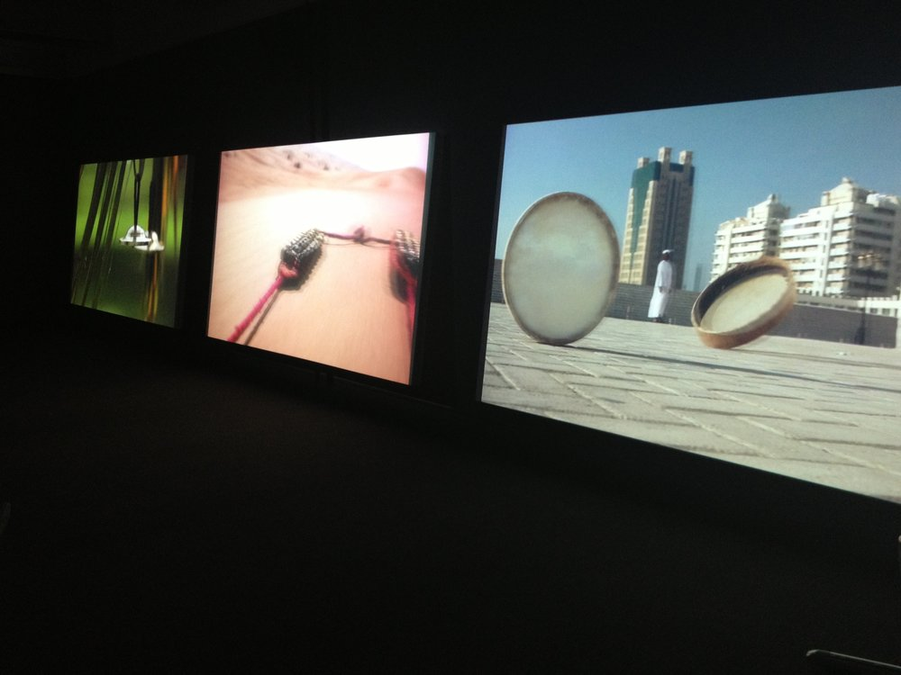 'Session' by Nevin Aladag. A musical composition and video triptych shot in Sharjah's urban areas and desert using instruments found in the UAE