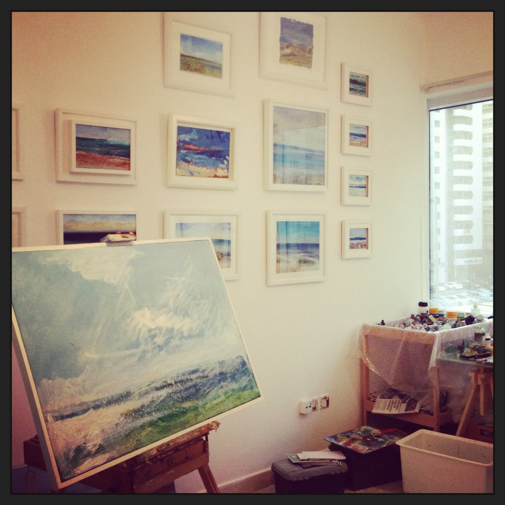 Andrew Field's studio also has a gallery wall of his paintings