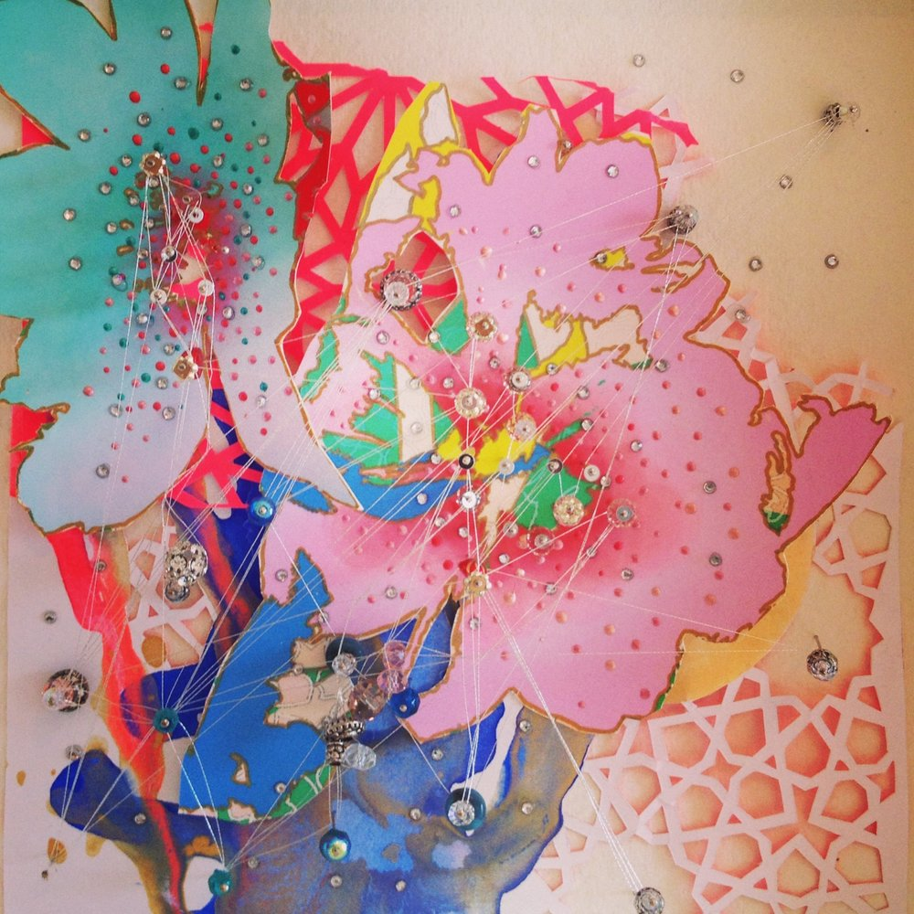 Artwork by Julia Ibbini, a composition using digital print, collage, crystals and thread