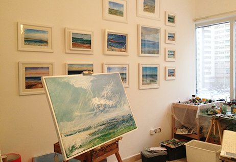 Artworks by Andrew Field hanging in his Abu Dhabi studio