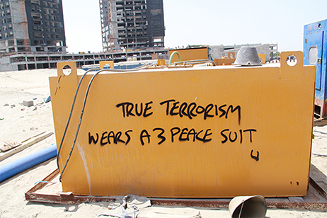 True terrorism wears a 3 peace suit by Arcadia Blank