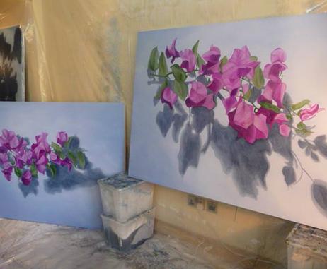 Artworks in progress in Kathryn Ryan's studio in Dubai