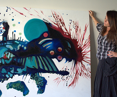Kathryn Wilson with her artwork titled Sleepwalking