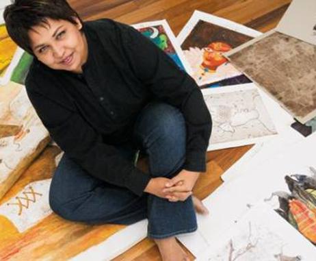 Nivedita Saha in her studio in Dubai