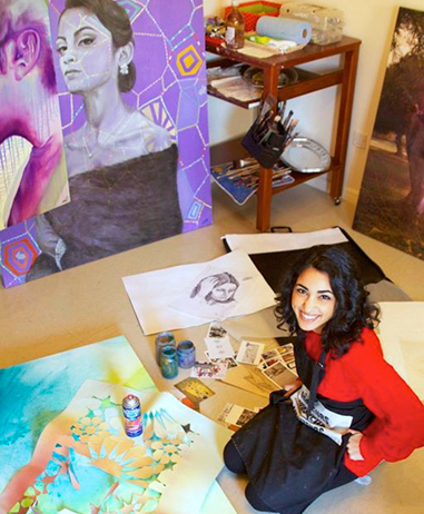 Perryhan El-Ashmawi in her studio in Bahrain