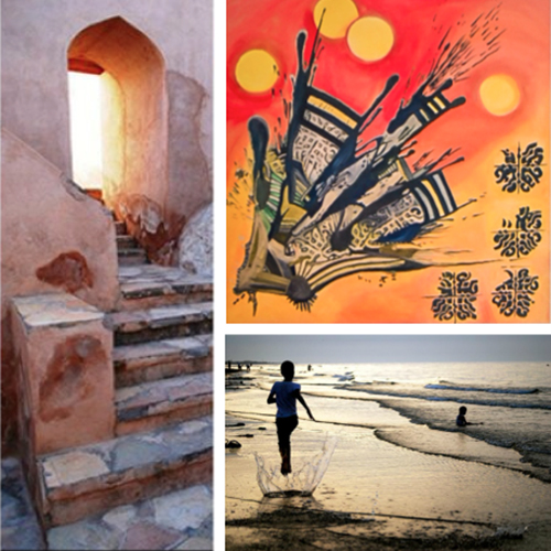 Clockwise from left: an architectural detail in Oman; one of Kathryn Wilson's paintings at Centurion Star; 'Seeb Beach', a photograph taken by Kathryn Wilson in Muscat, Oman, © Kathryn Wilson