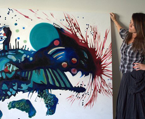 Kathryn Wilson with one of her works, available from our online store as a limited edition print