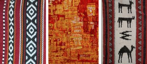 Left to right: Al Sadu fabric; detail of Al Qassab's painting; al Sadu fabric