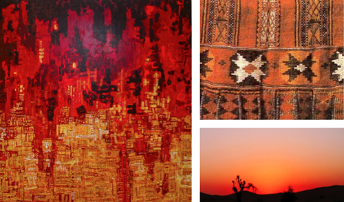 Clockwise from left: Al Qassab's painting; a detail of Al Sadu fabric; a desert sunset in the UAE