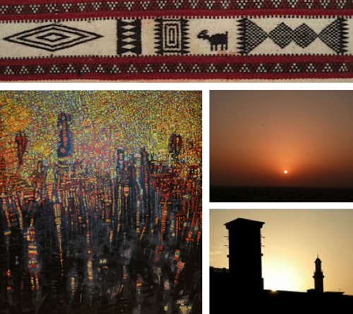 Clockwise from top: A detail of Al Sadu fabric; a desert sunset in the UAE; a silhouetted wind tower; a detail of Al Qassab's painting