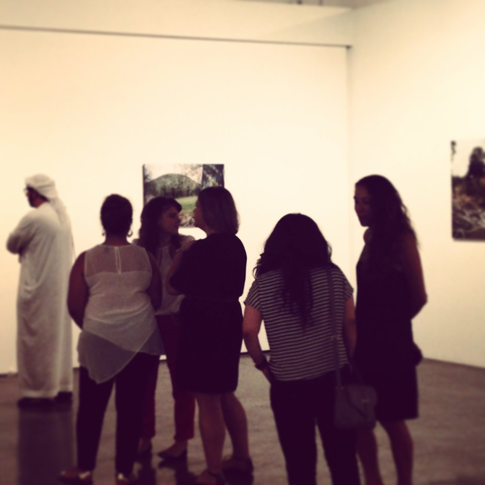 Visitors at the opening of Fouad Elkoury's show