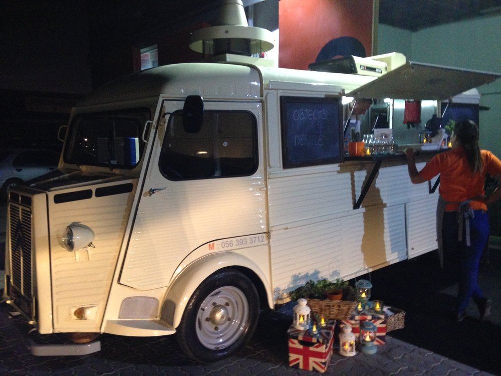 Delicious snacks were served from a vintage Citroen van  by the fantastic Ghaf Kitchen